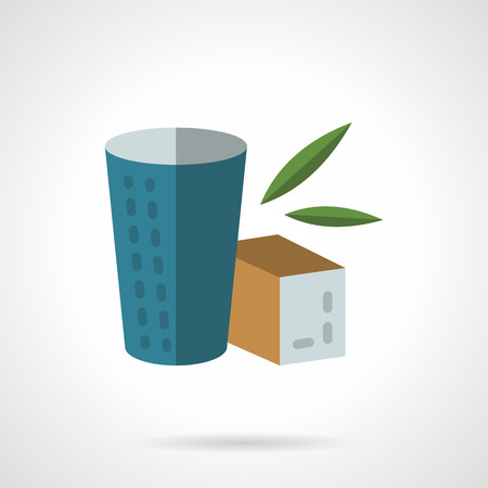 brown box: Blue cup and brown box with herbal tea. Organic and healthy food and beverages. Flat color style vector icon. Web design element for site, mobile and business.