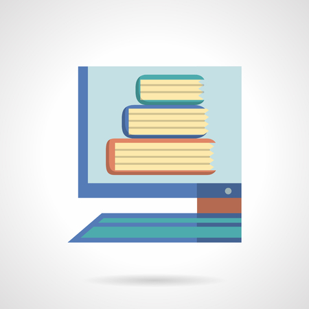 digital library: Digital library. Online books service for learning and studying. Distance education. Computer monitor with books. Flat color style vector icon. Web design element for site, mobile and business. Illustration