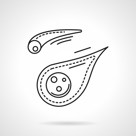 meteorites: Space bodies. Two meteorites or comets with tail. Space research. Astronomy science. Flat line style vector icon. Single design element for website, business. Illustration