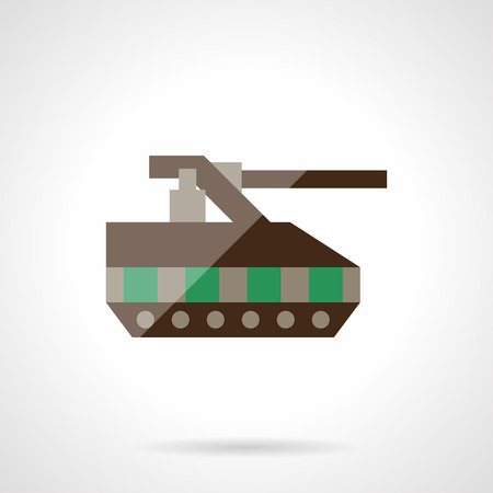 unmanned: Military tank. Remote control toy. Unmanned robots. Flat color style vector icon. Web design element for site, mobile and business.