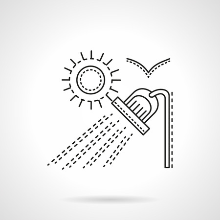 suburb: Summer suburb rest. Outdoor shower and sun. Camping services. Flat line style vector icon. Single design element for website, business.