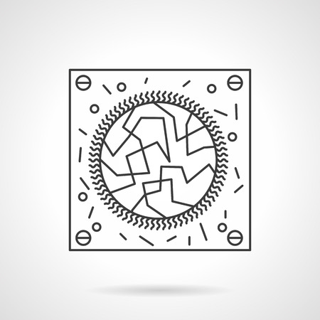 virology: Abstract virology test sign. Microbiology and virology research. Science and medicine. Flat line style single vector icon. Element for web design, business, mobile app.