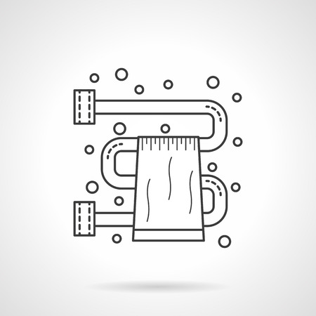 mobile accessories: Bathroom accessories and equipment. Dryer for towel and bubbles. Flat line style single vector icon. Element for web design, business, mobile app. Illustration