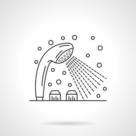 bathroom equipment: Bathroom equipment. Tap or shower dispenser with cold and hot water. Flat line style single vector icon. Element for web design, business, mobile app.