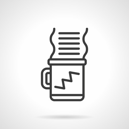 energy work: Hot coffee cup for energy and creative work. Coffee break. Black line style single vector icon. Element for web design, business, mobile app.