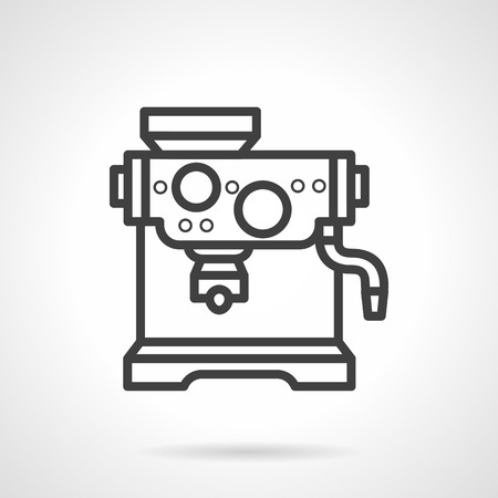 kitchen equipment: Coffee shop appliances. Coffee machine for restaurants and cafe. Coffee making equipment. Simple black line vector icon. Single element for web design, mobile app. Illustration