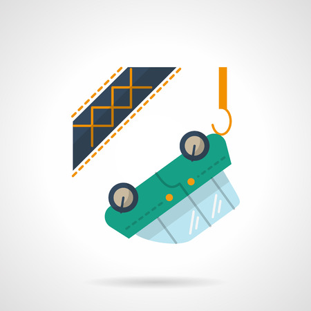 evacuation equipment: Automobile evacuation. Green car hanging on a tow truck hook. Car insurance concept. Flat color style vector icon. Web design element for site, mobile and business.
