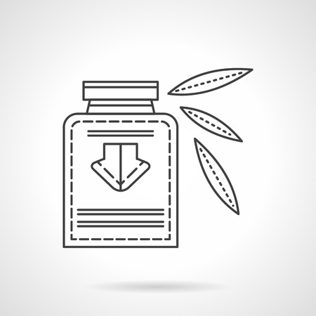 tincture: Bottle with label and leaves. Herbal tincture. Vial with organic medicine. Flat line style vector icon. Single design element for website, business.