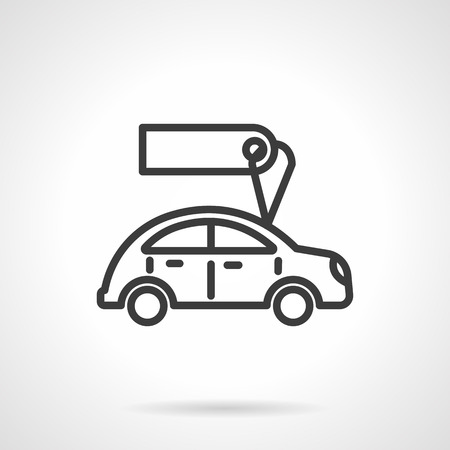 car for sale: Automobile with blank tag or label. Car business. Used cars for sale or rent. Black line style single vector icon. Element for web design, business, mobile app.