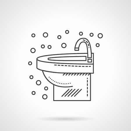 washstand: Bathroom interior. Washbasin with faucet and bubbles. Flat line style single vector icon. Element for web design, business, mobile app.