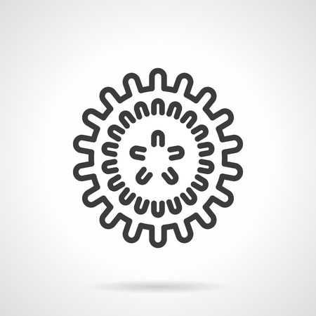 viral infection: Viral infection symbol. Influenza virus model. Science and medicine research. Black line style single vector icon. Element for web design, business, mobile app.