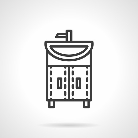 washstand: Home interior store. Bathroom. Washstand with tap. Black line style single vector icon. Element for web design, business, mobile app.