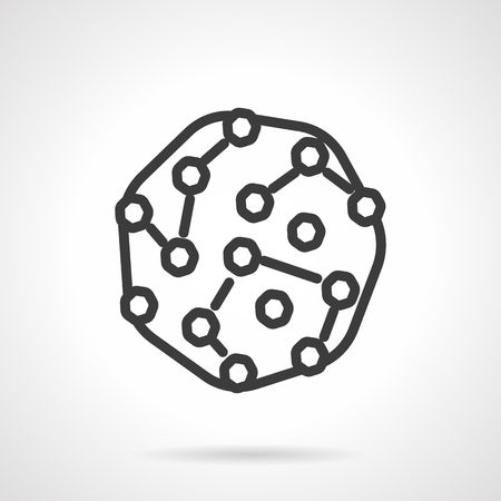pathogens: Abstract microorganisms colony. Bacteria culture. Pathogens model. Microbiology research. Black line style single vector icon. Element for web design, business, mobile app.