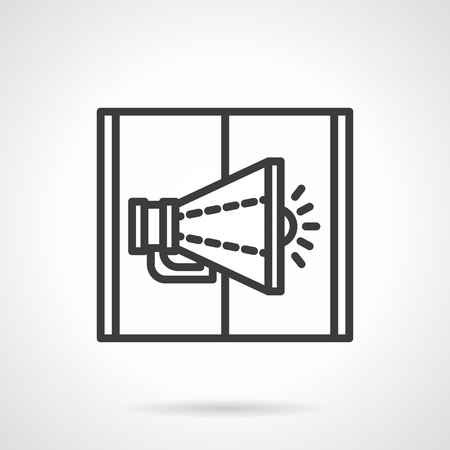 mobile marketing: Megaphone on page of open web magazine or book. Digital marketing concept. Black line style single vector icon. Element for web design, business, mobile app.