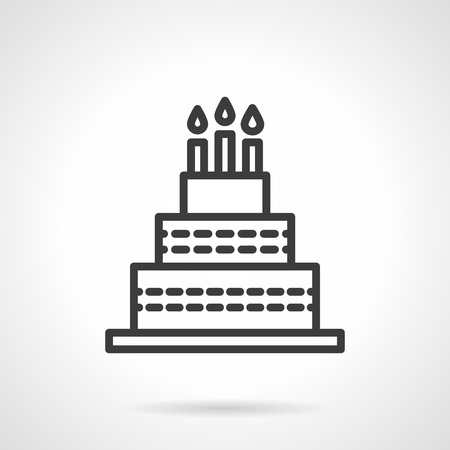 holiday celebrations: Holiday cake with three candles. Happy birthday symbol. Celebrations desserts. Black line style single vector icon. Element for web design, business, mobile app. Illustration