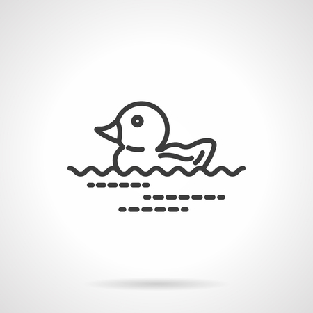 ducky: Rubber duck floating on small waves. Bathroom accessories and toys for bathing children. Black line style single vector icon. Element for web design, business, mobile app. Illustration