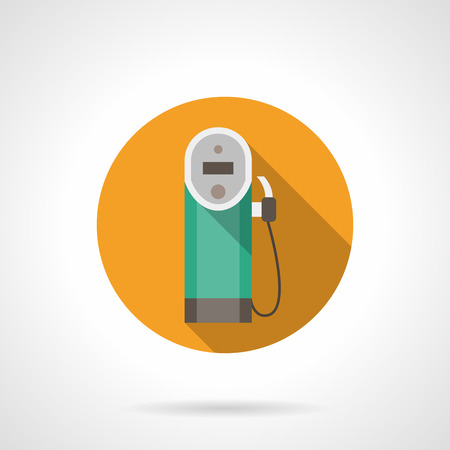 refueling: Yellow button with gas station pump old style. Refueling with diesel fuel. Oil industry. Flat color round style vector icon. Web design element for site, mobile and business.