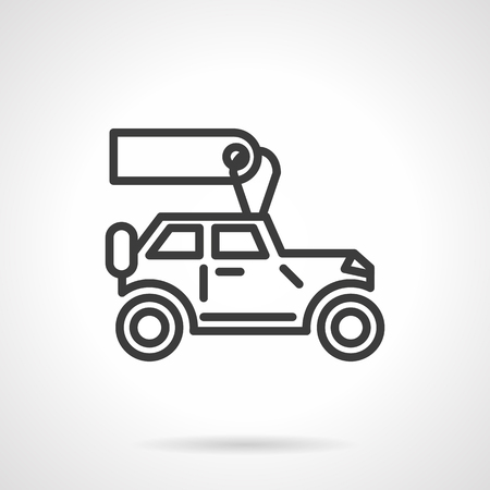 handover: Car business. Automobile with blank label for selling or rent. SUV sign. Black line style single vector icon. Element for web design, business, mobile app.