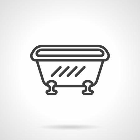 bathroom equipment: Single bathtub. Bathroom equipment and furniture. Simple black line vector icon. Single element for web design, mobile app.