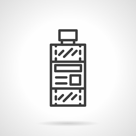 solvent: Bottle with label. Chemical solvent. Toxic and flammable liquid. Simple black line vector icon. Single element for web design, mobile app. Illustration