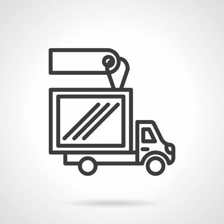 car for sale: Van with container for delivery services with blank price tag. Vehicles for sale and rent. Car business. Simple black line vector icon. Single element for web design, mobile app. Illustration