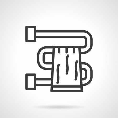 sanitary towel: Towel hanging on pipe dryer. Bathroom accessories and equipment. Simple black line vector icon. Single element for web design, mobile app. Illustration
