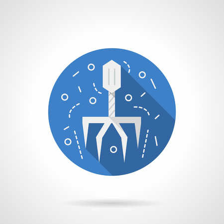 bacteriophage: White virus model. Bacteriophage. Virology science. Flat blue round style vector icon. Web design element for site, mobile and business.