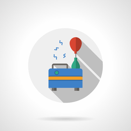 business event: Red balloon filled with special equipment. Birthday and party organization. Event agency services. Flat color style single vector icon. Element for web design, business, mobile app.