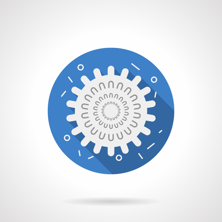 grippe: Virology and microbiology objects. Influenza virus model. White silhouette sign with long shadow. Flat color style single vector icon. Element for web design, business, mobile app.