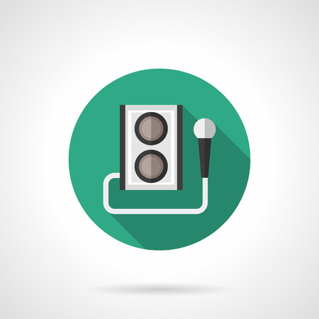 subwoofer: Green round button with subwoofer and microphone. Karaoke sign. Celebrations and party. Flat color style single vector icon. Element for web design, business, mobile app. Illustration