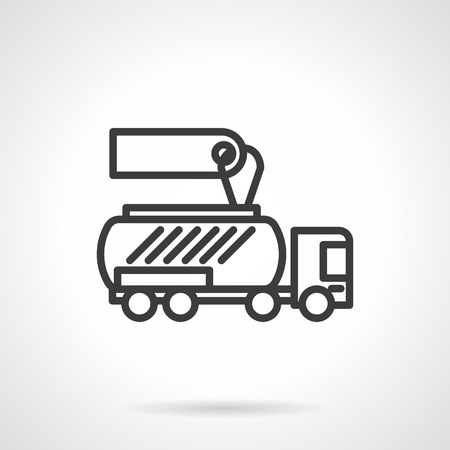 simple store: Automobile store. Cars for sale and rent. Gasoline tanker with blank price tag. Simple black line vector icon. Single element for web design, mobile app.