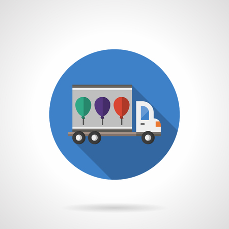 business event: Blue round button of truck with colorful balloons. Party and festivals. Celebrations organization. Event agency. Flat color style single vector icon. Element for web design, business, mobile app.