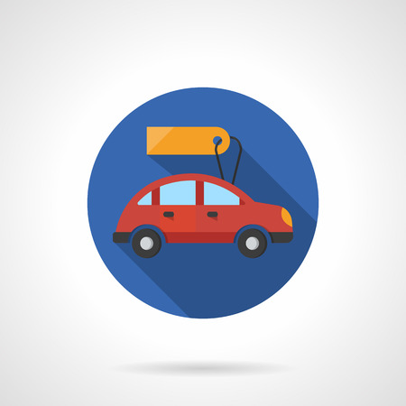 hatchback: Red hatchback with yellow blank price tag. Cars for sale or rent. Flat color style single vector icon. Element for web design, business, mobile app. Illustration