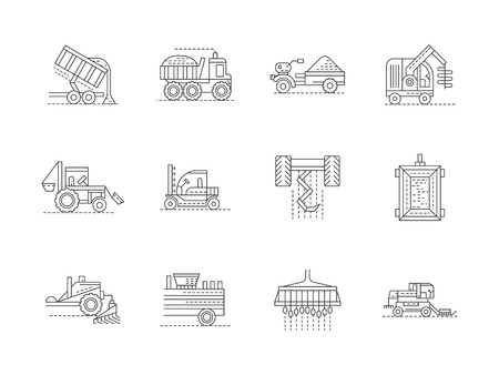 agricultural equipment: Agricultural vehicles and transport. Farming equipment. Agricultural industry. Set of flat black line vector icons. Elements for web design and mobile.