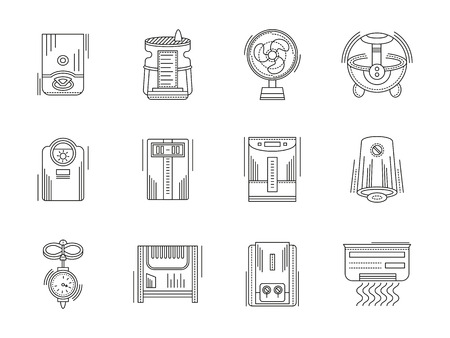 comfort: Climate technics and equipment. Heating and cooling, dehumidification and humidification appliances. Home comfort. Set of flat black line vector icons. Elements for web design and mobile.