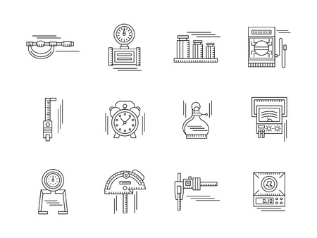 calibration: Measurement tools. Mechanical and electrical instruments. Metrology equipment. Set of flat black line vector icons. Elements for web design and mobile. Illustration
