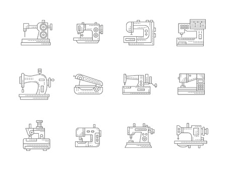 mending: Different types of sewing machine. Stitching machines. Tailoring equipment. Dressmaking and clothes mending. Set of flat black line vector icons. Elements for web design and mobile. Illustration