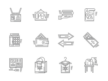 commission: Signs and elements of commission shop. Payment, items and goods, shop facade and other elements. Set of flat black line vector icons. Elements for web design and mobile.