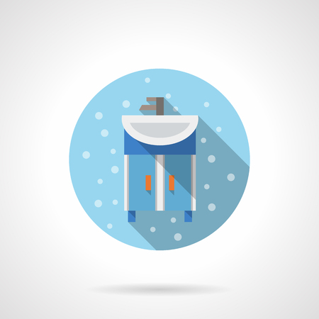 pedestal sink: Blue washstand with white ceramic sink. Bubbles style. Bathroom theme. Flat color round vector icon with long shadow. Element for web design, business, mobile app.