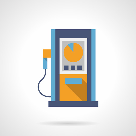 refilling: Blue gas station pump with round yellow dial. Automobile refilling services. Oil industry. Flat color style single vector icon. Element for web design and mobile. Illustration