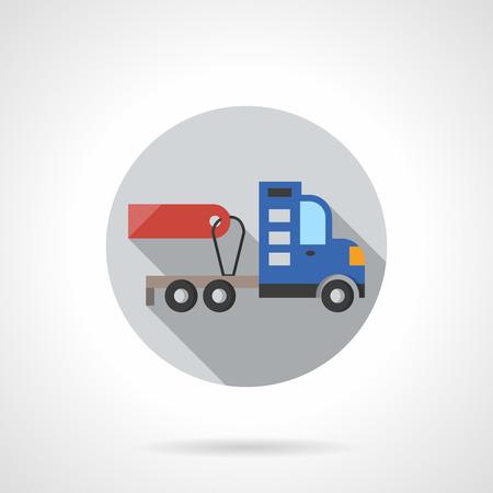 トラック トレーラーなしの灰色の丸いボタン。赤い空の値札。自動車・販売および賃貸料のための車。フラット カラー スタイルはラウンド ベクト