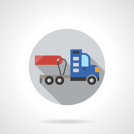 Gray round button for truck without trailer. Red empty price tag. Automobiles and vehicles for sale and rent. Flat color style round vector icon. Element for web design, business, mobile app.