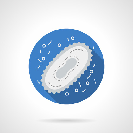 infectious disease: Microorganism life. Microbe cell. Microbiology research. Science, medicine and education. Flat color blue round vector icon. Element for web design, business, mobile app. Illustration