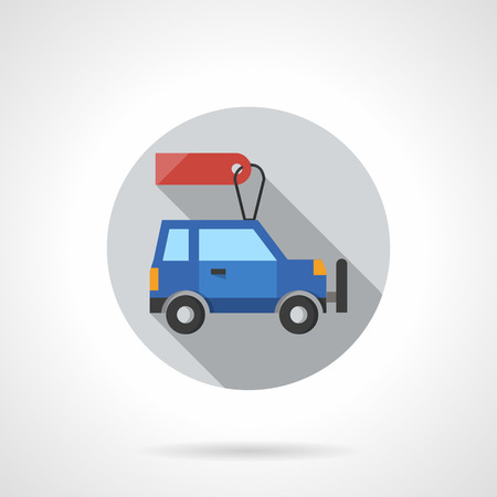 car for sale: Sale automobiles. Special proposal and discounts. Blue car with blank price tag. Flat color style round vector icon. Element for web design, business, mobile app.