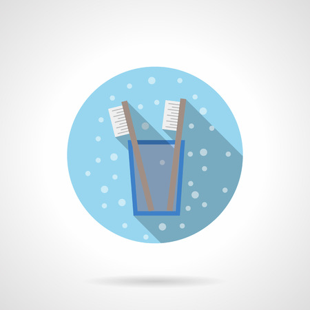 tidiness: Two toothbrushes in a glass. Bathroom accessories. Hygiene elements. Bubbles style. Flat color round vector icon. Element for web design, business, mobile app.