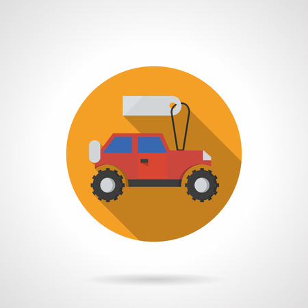 toy shop: Red toy car with blank price tag. Bright button for toy shop. Flat color style round vector icon. Element for web design, business, mobile app.