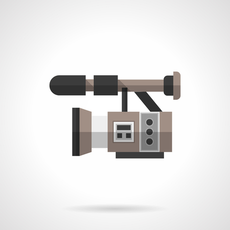 video camera: Professional filming equipment. Video camera. Cinematography industry. Flat color style single vector icon. Element for web design and mobile.