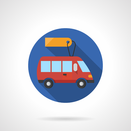 minibus: Red minibus with yellow blank price tag. Special passenger transportation. Automobile for sale and rent. Flat color style round vector icon. Element for web design, business, mobile app.