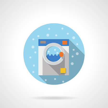 bathroom equipment: Nice washing machine. Laundry and bathroom equipment. Household appliances. Bubbles style. Flat color round vector icon. Element for web design, business, mobile app.