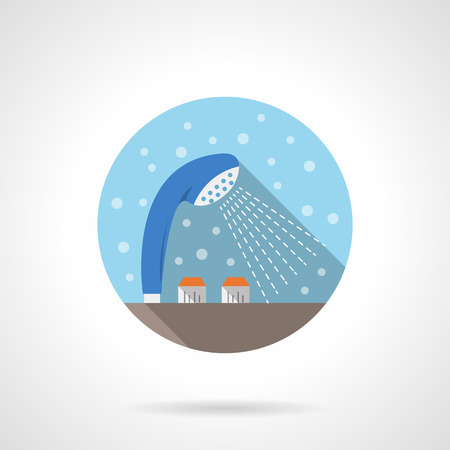 bathroom equipment: Blue shower head with dispenser. Bathroom equipment and accessories. Bubbles style. Flat color round vector icon. Element for web design, business, mobile app. Illustration